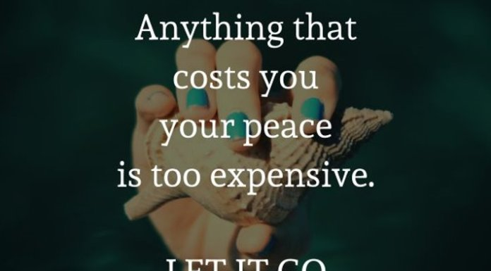 Anything that costs you your peace is too expensive. LET IT GO.