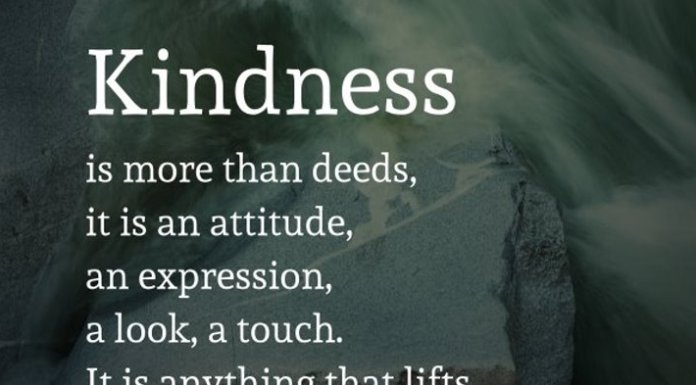Kindness is more than deeds, it is an attitude, an expression, a look, a touch. It is anything that lifts another person.