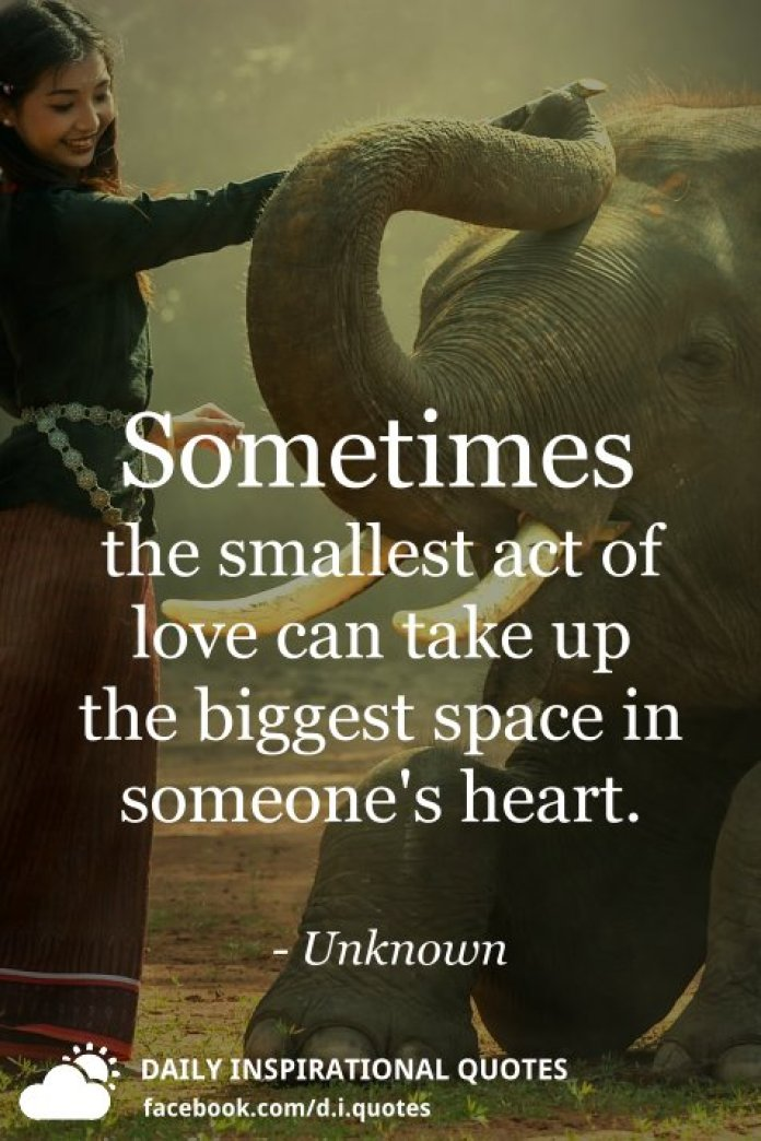 Sometimes the smallest act of love can take up the biggest space in someone's heart. - Unknown