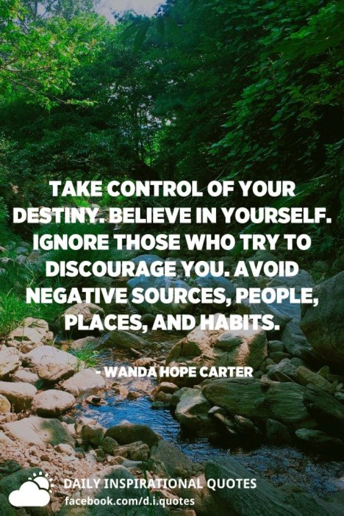 Take control of your destiny. Believe in yourself. Ignore those who try to discourage you. Avoid negative sources, people, places, and habits. - Wanda Hope Carter
