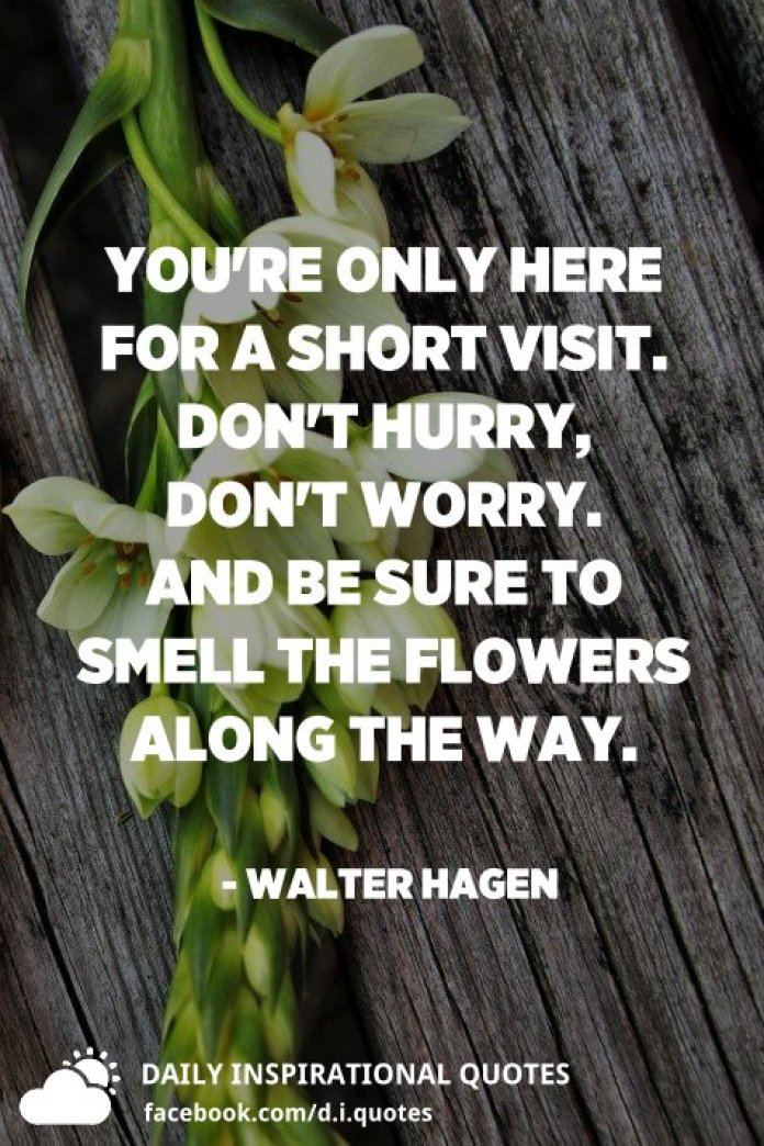 You're only here for a short visit. Don't hurry, don't worry. And be sure to smell the flowers along the way. - Walter Hagen