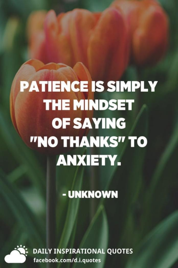 "Patience is simply the mindset of saying ""no thanks"" to anxiety. - Unknown"