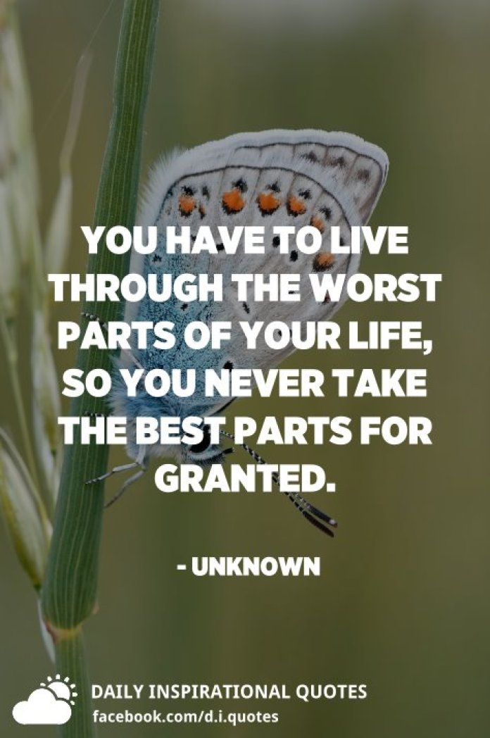 You have to live through the worst parts of your life, so you never take the best parts for granted. - Unknown
