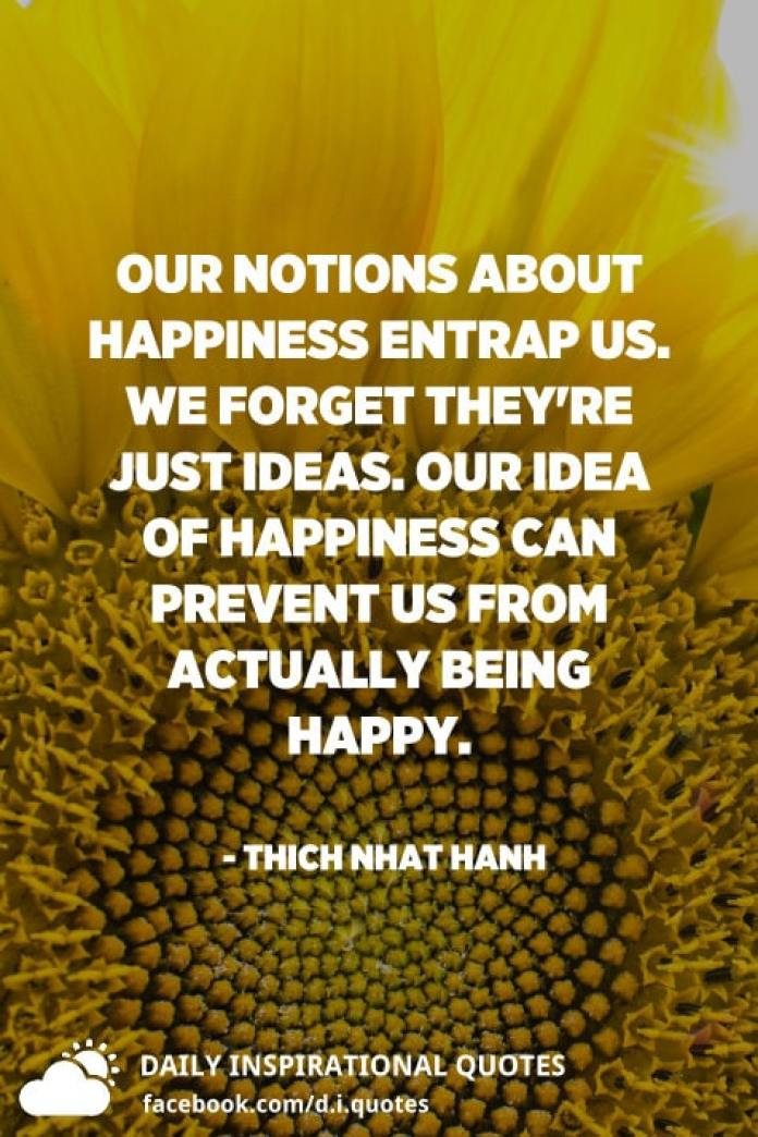 Our notions about happiness entrap us. We forget they're just ideas. Our idea of happiness can prevent us from actually being happy. - Thich Nhat Hanh