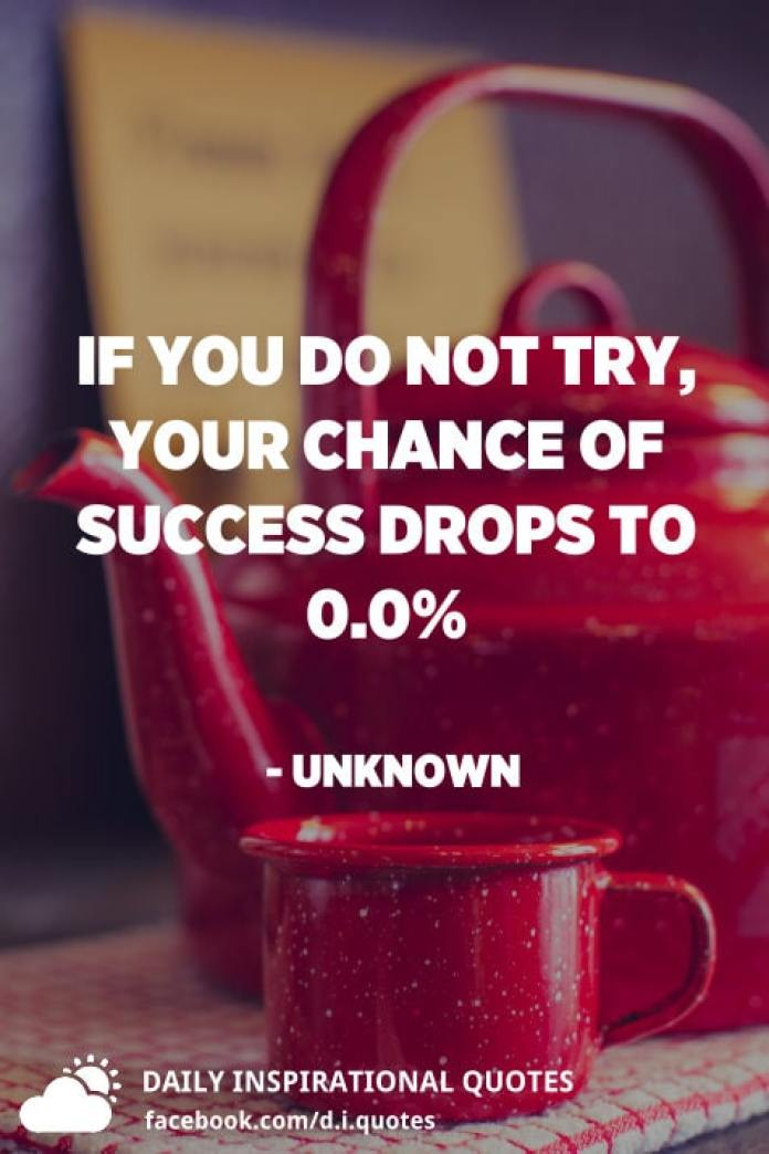 If you do not try, your chance of success drops to 0.0% - Unknown