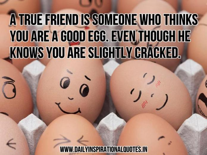 A true friend is someone who thinks you are a good egg. Even though he knows you are slightly cracked. ~ Anonymous