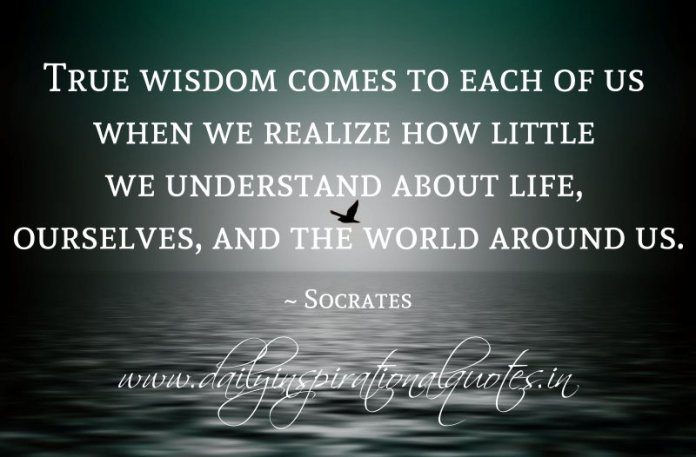 True wisdom comes to each of us when we realize how little we understand about life, ourselves, and the world around us. ~ Socrates
