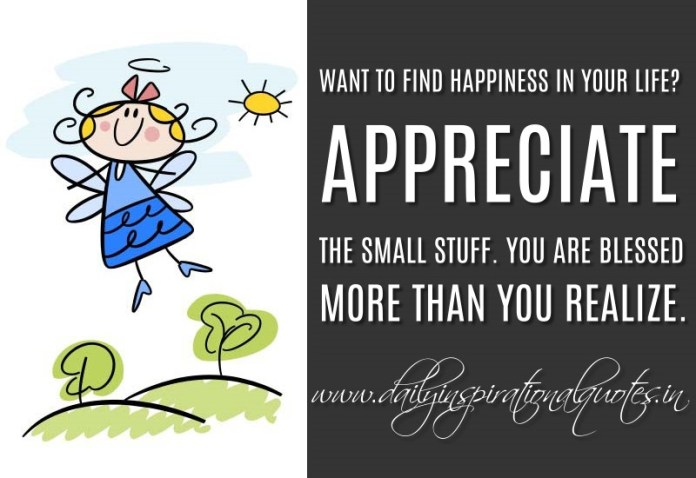 Want to find happiness in your life? Appreciate the small stuff. You are blessed more than you realize. ~ Anonymous