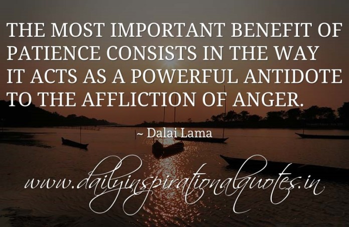 The most important benefit of patience consists in the way it acts as a powerful antidote to the affliction of anger. ~ Dalai Lama