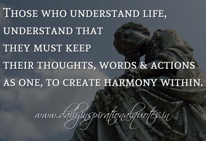 Those who understand life, understand that they must keep their thoughts, words & actions as one, to create harmony within. ~ Anonymous