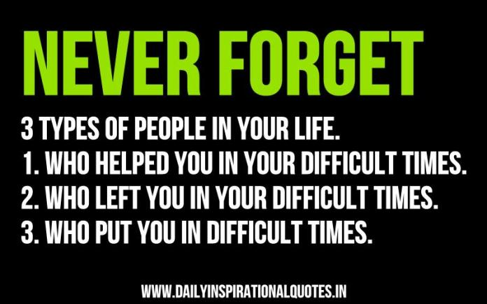 Never forget 3 types of people in your life. 1. Who helped you in your difficult times. 2. Who left you in your difficult times. 3. Who put you in difficult times. ~ Anonymous