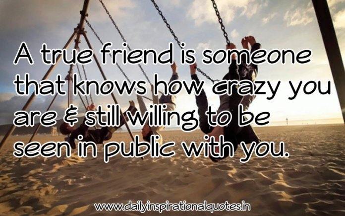 A true friend is someone that knows how crazy you are & still willing to be seen in public with you. ~ Anonymous