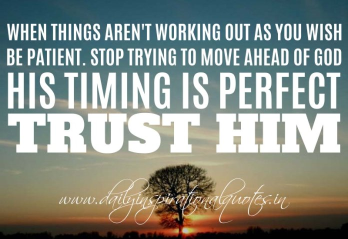 When things aren't working out as you wish, be patient. Stop trying to move ahead of God. His timing is perfect. Trust Him. ~ Anonymous