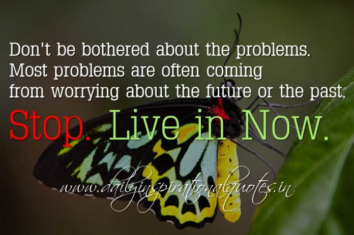 Don't be bothered about the problems. Most problems are often coming from worrying about the future or the past. Stop. Live in Now. ~ Anonymous