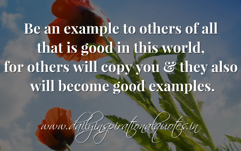 Image result for be a good example