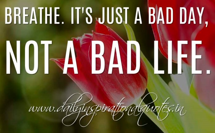 Breathe. It's just a bad day, not a bad life. ~ Anonymous