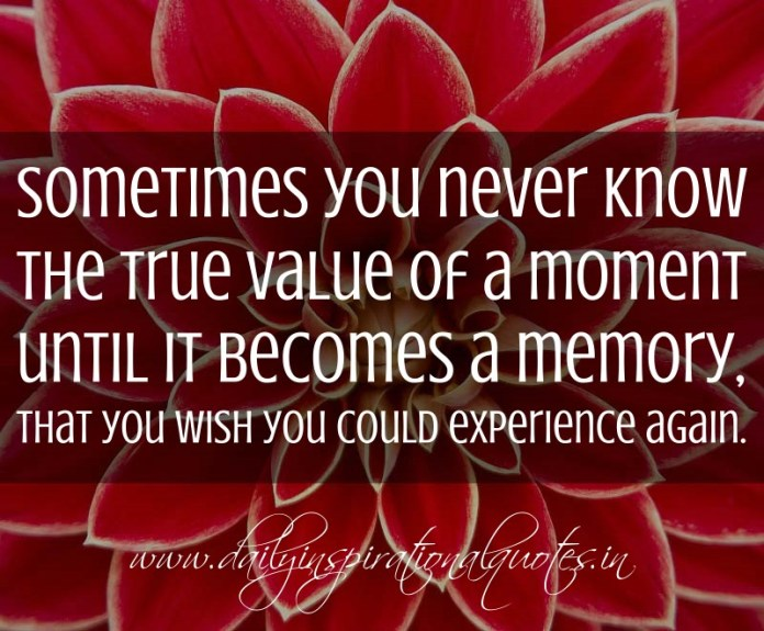 Sometimes you never know the true value of a moment until it becomes a memory, that you wish you could experience again. ~ Anonymous