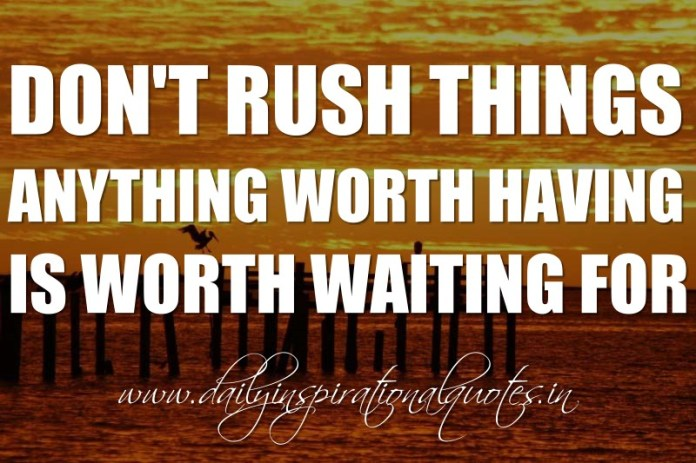 Don't rush things. Anything worth having is worth waiting for. ~ Anonymous