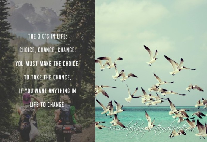 The 3 c's in life. choice, chance, change. you must make the the choice, to take the chance, if you want anything in life to change.
