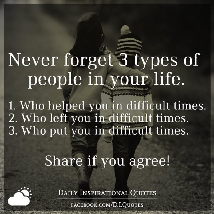 Never forget 3 types of people in your life. 1. Who helped you in difficult times. 2. Who left you in difficult times. 3. Who put you in difficult times.