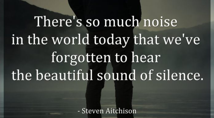 There's so much noise in the world today that we've forgotten to hear the beautiful sound of silence. - Steven Aitchison