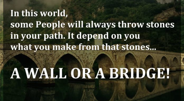 In this world, some people will always throw stones in your path. It depend on you what you make from that stones... A WALL OR A BRIDGE!