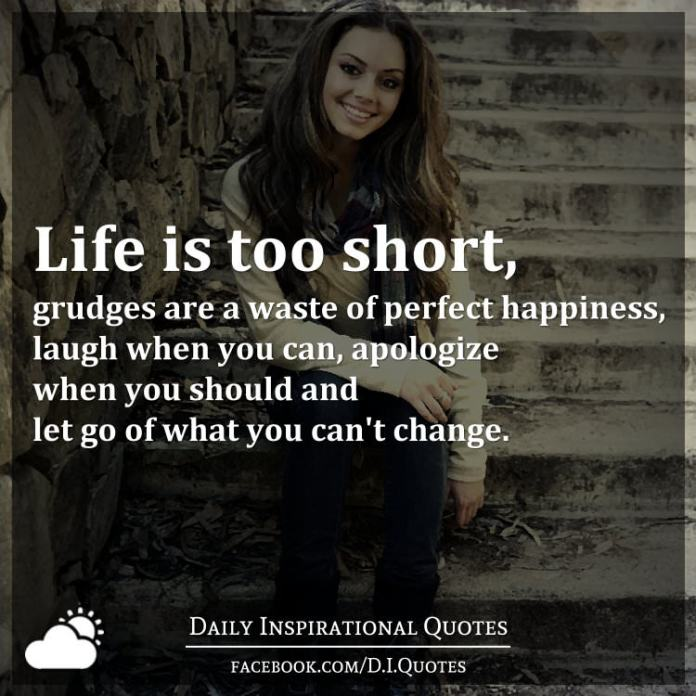 Life is too short, grudges are a waste of perfect happiness, laugh when you can, apologize when you should and let go of what you can't change.