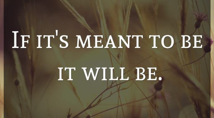 If it's meant to be it will be.