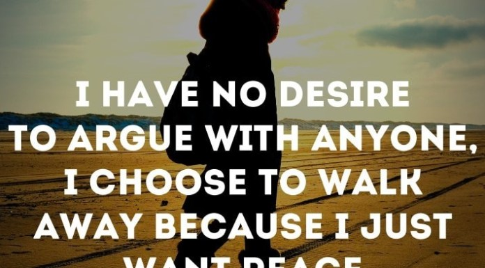 I have no desire to argue with anyone, I choose to walk away because I just want peace.