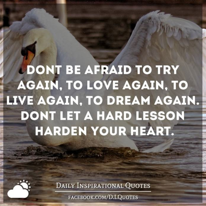 Don't be afraid to try again, to love again, to live again, to dream again. Don't let a hard lesson harden your heart.