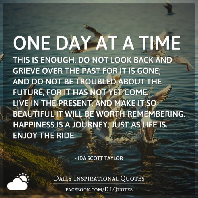 One day at a time—this is enough. Do not look back and grieve over the past for it is gone; and do not be troubled about the future, for it has not yet come. Live in the present, and make it so beautiful it will be worth remembering. Happiness is a journey, just as life is. Enjoy the ride. - Ida Scott Taylor