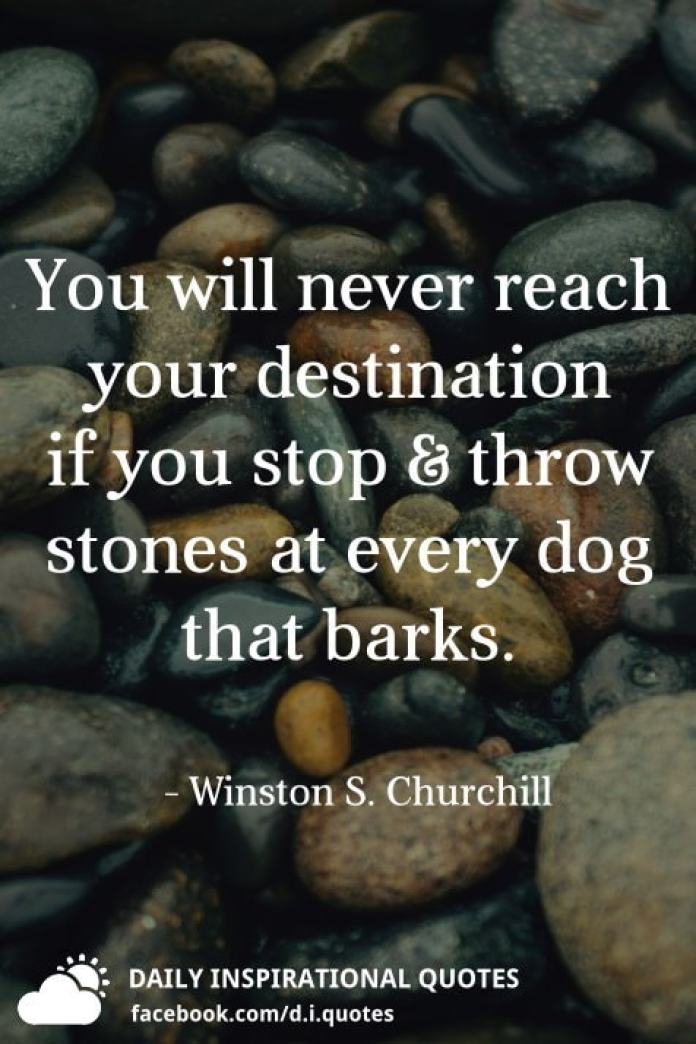 You will never reach your destination if you stop & throw stones at every dog that barks. - Winston S. Churchill