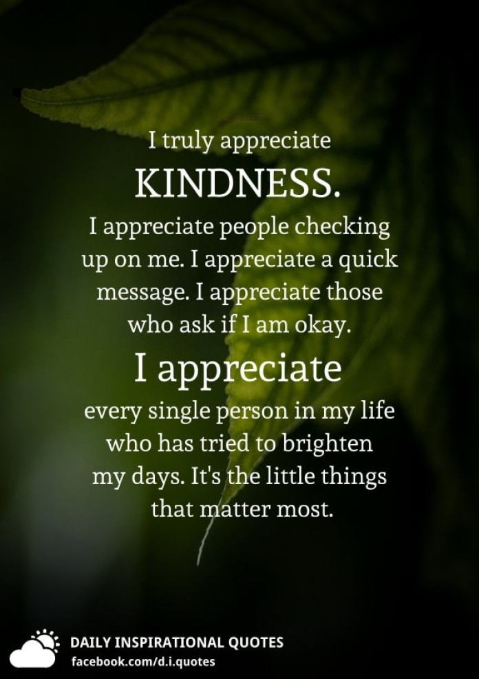 I truly appreciate KINDNESS. I appreciate people checking up on me. I appreciate a quick message. I appreciate those who ask if I am okay. I appreciate every single person in my life who has tried to brighten my days. It's the little things that matter most.