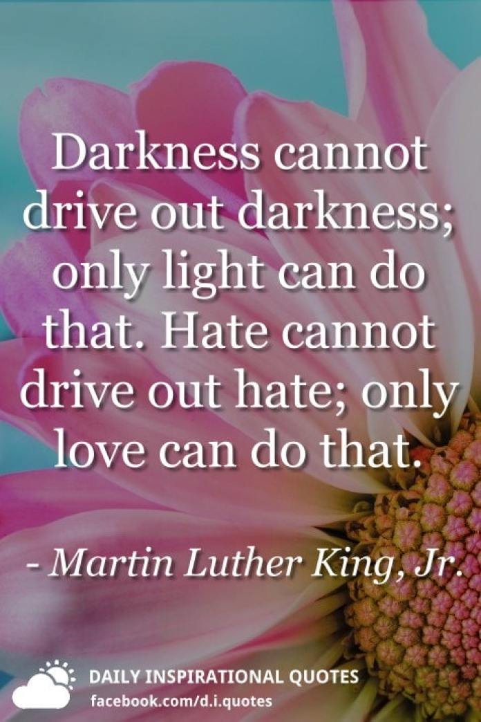 Darkness cannot drive out darkness; only light can do that. Hate cannot drive out hate; only love can do that. - Martin Luther King, Jr.