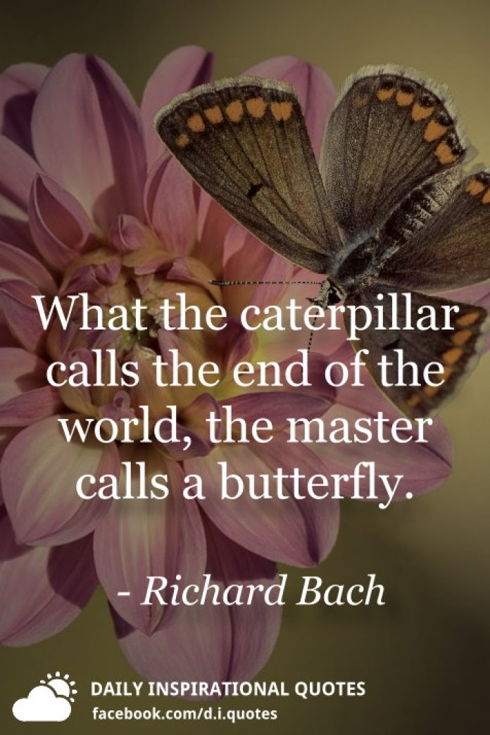 What the caterpillar calls the end of the world, the master calls a butterfly. - Richard Bach