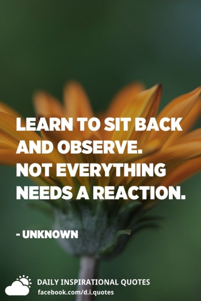 Learn to sit back and observe. Not everything needs a reaction. - Unknown