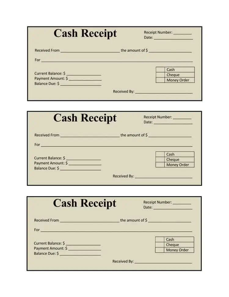 collection receipt template