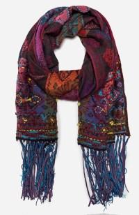 Vismaya Embroidered Edge Scarf in Floral Multi | DAILYLOOK