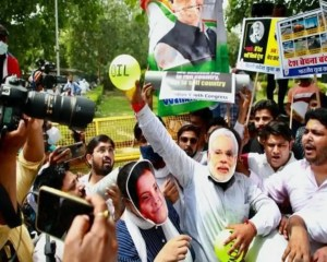 Youth Congress holds protest against BJP-led government over National Monetization Pipeline