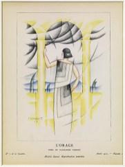 """Thayaht, """"L'Orage"""", «Gazette du Bon Ton"""" XII, 1923, 2, tav.10, pochoir. Firenze, Archivio THAYAHT & RAM."""