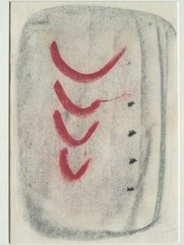 Lucio Fontana Progetto grafico del tessuto per lo schienale della poltrona P40. Concetto spaziale, 1957 pastello a olio con motivi decorativi di colore rosso su carta Busto Arsizio (Varese), Collezione Branchini-Grampa