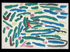 Gianni Dova Senza titolo, 1955 Progetto grafico per tessuto stampato – Manifattura Jsa tempera su carta Busto Arsizio (Varese) Collezione Branchini-Grampa