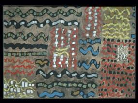 Gianni Dova Senza titolo, 1954 Progetto grafico per tessuto stampato – Manifattura Jsa tempera su carta intelata Busto Arsizio (Varese), Collezione Branchini-Grampa