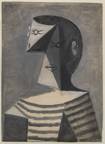 Busto di uomo in maglia a righe. Pablo Picasso (Malaga 1881-Mougins 1973), 1939, gouache su carta, cm 63,1 x 45,6. Venezia, collezione Peggy Guggenheim, 76.2553. Foto di David Heald © Succession Picasso, by SIAE 2016