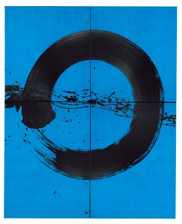 Fabienne Verdier Ascèse 2015 black acrylic on blue background on cotton linen canvas 367 x 271 cm