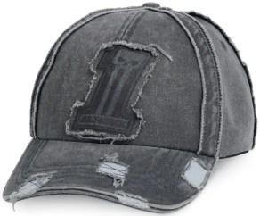 Men's Grey #1 Raw Edge Baseball Cap