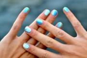 blue with white stripes - nail
