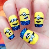 Glittery Minions - Nail Art