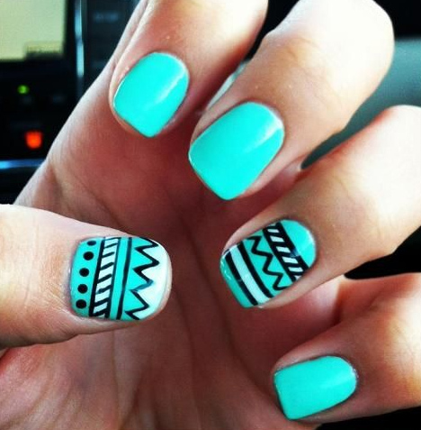 Tribal Nails In Aqua Blue