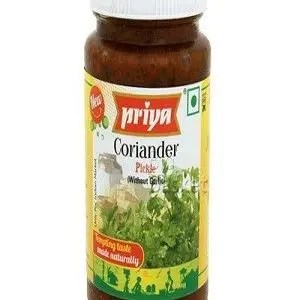 Priya Pickle – Coriander (without Garlic), 300 gm Bottle